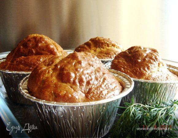 Закусочные маффины с креветками и укропом