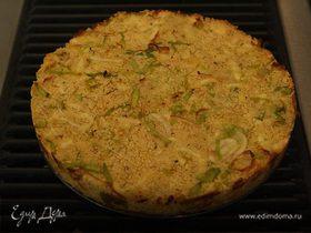 Пирог из кускуса с луком-пореем, сыром и кориандром