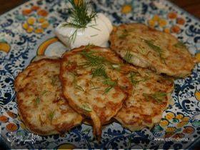 Овсяные оладьи с картофелем, сыром и беконом