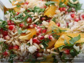 Салат из риса с апельсином, гранатом и кедровыми орешками