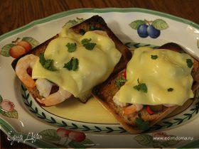 Панини с креветками, кинзой и сыром