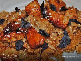 Сладкая курица с соленым рисом
