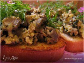 Омлет с печенкой и зеленью