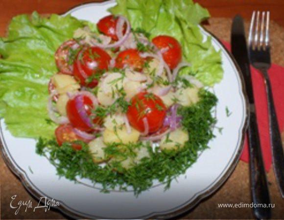 Салат из картофеля с помидорами по-деревенски