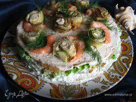Закусочный торт из кабачков с креветками