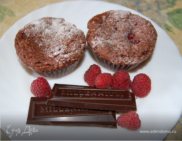 Малиновые кексы-брауни