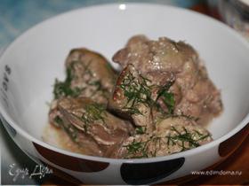 Печень куриная в сметанном соусе