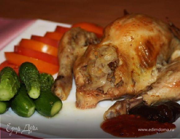 Курица, фаршированная кислой капустой (в рукаве)