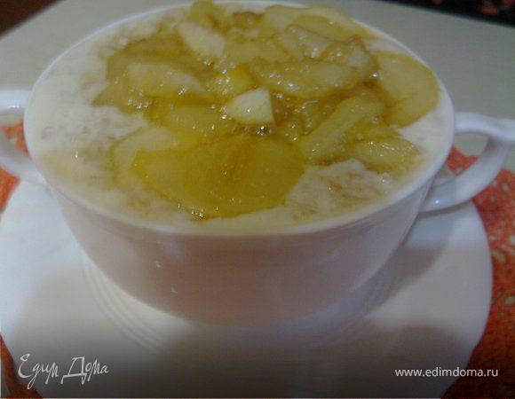 Молочный овсяный суп с грушей
