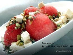 Салат c арбузом, фетой и семечками
