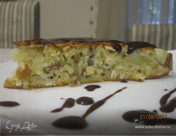 Яблочный пирог с медом и овсяными хлопьями
