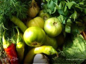 Зелёные помидоры, солёные по-грузински и пряный салат из остатков