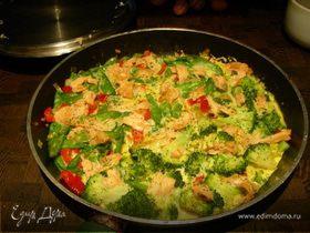 Фриттата с брокколи и копченым лососем