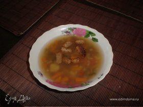 Постный суп с сухариками