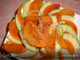 Пикантный салат из хурмы