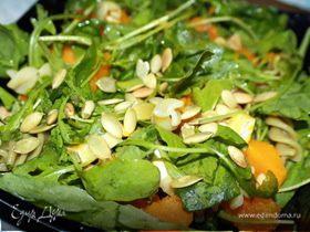 Тёплый салат с тыквой, руколой и сыром бри.