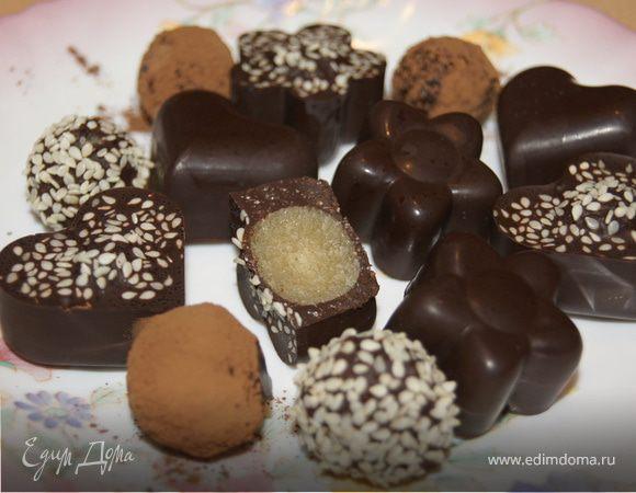 Шоколадные конфетки с марципаном