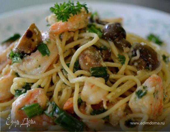 Спагетти с креветками и грибами