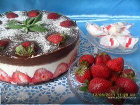 Торт клубнично-творожный