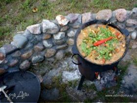 Баранина с овощами в казане