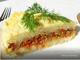 Картофельная запеканка с фаршем под соусом Бешамель