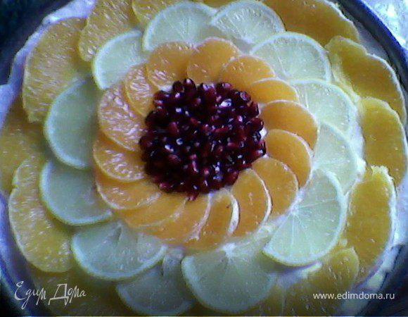 Торт - суфле с фруктами в желе