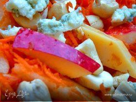 """Салат""""Зимний""""с сыром и фруктами."""