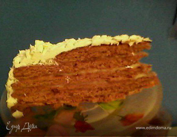 Шоколадно-медовый торт на сковороде