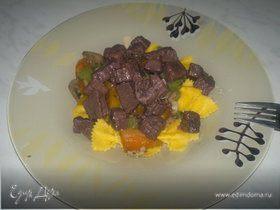 Паста примавера с говядиной в подливе из черной смородины и бальзамичесекого уксуса