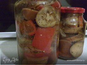 Баклажаны и перцы в ароматном маринаде