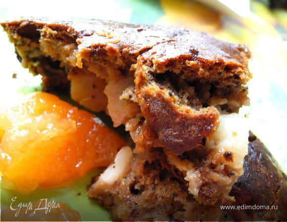 Грушевый пирог с шоколадом и миндалем