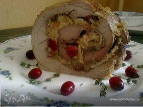 Рулет с квашеной капустой, яблоком и клюквой