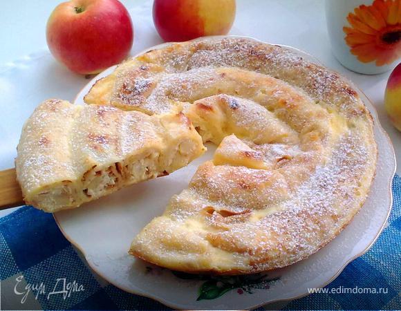 Блинный пирог с творожно-яблочной начинкой