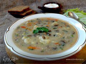 Густой суп с шампиньонами и картофельными клёцками