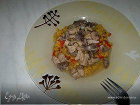 Острая чечевица с перцем и луком ( возможен постный вариант ) + желудки и бедро индейки