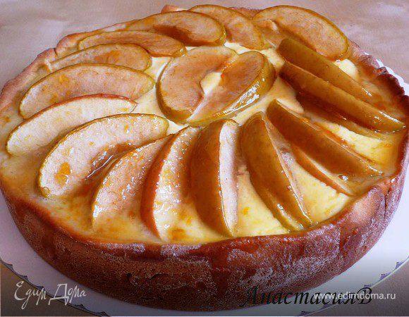 Глазированный яблочно-творожный пирог на дрожжевом тесте