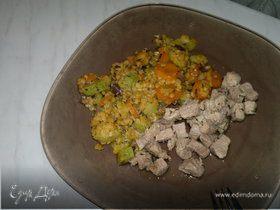 Чечевица с овощами и свиная лопатка