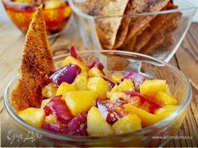Персиковая сальса+чипсы из лаваша со специями