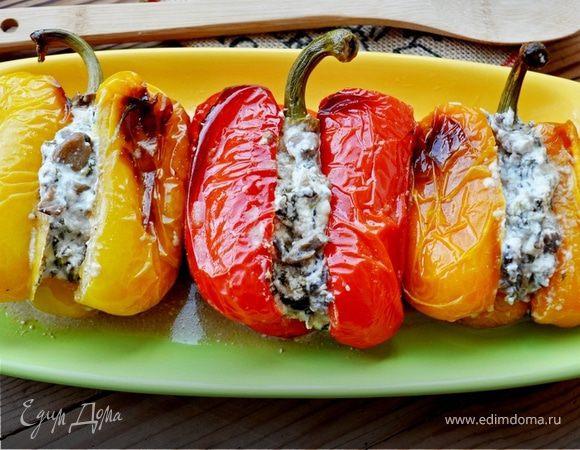 Запеченный перец, фаршированный вешенками и сыром