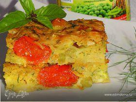 Запеканка с капустой, сыром и зеленым горошком