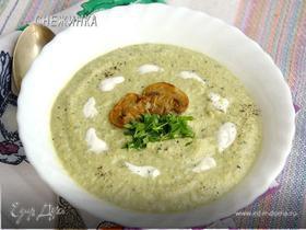 Суп-пюре из цукини, брокколи и шампиньонов