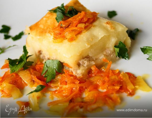 Картофельная запеканка с куриным фаршем и сыром