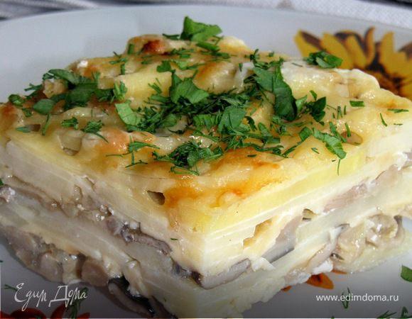 Картофельная запеканка с вешенками