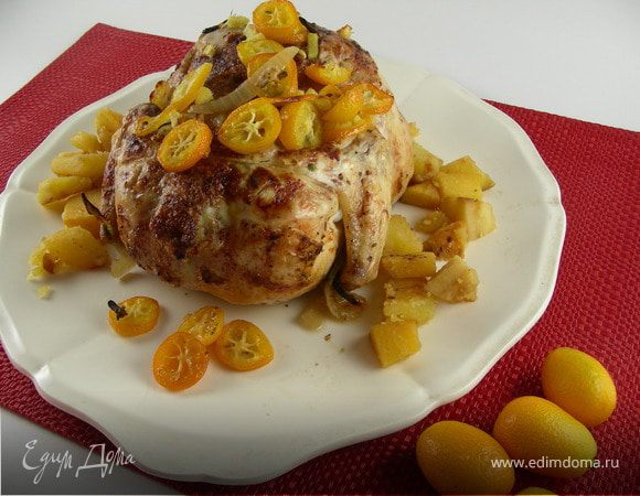 Курица с глазурью из кумвкатов и имбиря