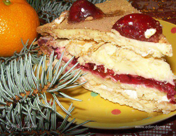 """торт """"Наполеоновская фантазия"""" с вишней-желе и нежным суфле"""