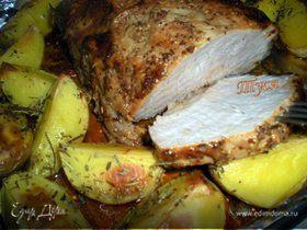 Запеченная буженина в глазури с картошкой по-деревенски (МК по запеканию)