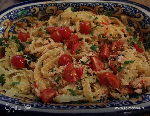 Паста с сибасом и помидорами черри