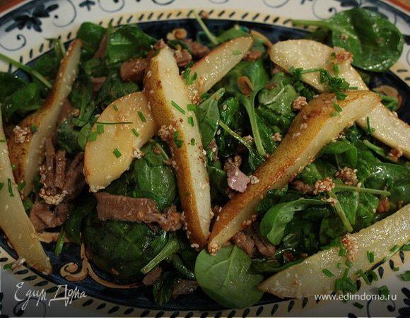 Японский салат с языком и карамелизированной грушей