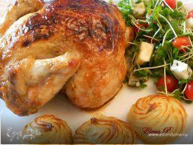 """Цыпленок в глазури с картофельными """"розочками"""""""
