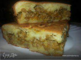 Пирог из фарша с грибами